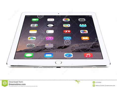 Ios Iphone Ipad Ios View   angled front view of apple silver ipad air 2 with ios 8