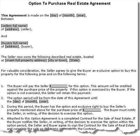 Property Purchase Option Agreement Contract Real Estate Option Contract Template