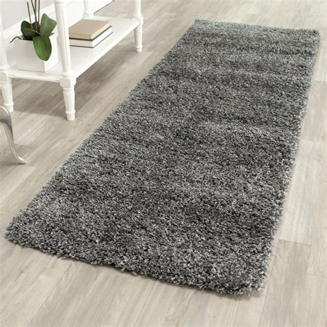 Grey Rugs by Power Loomed Solid Grey Shag Rug 2 3 Quot X 9 Runner Ebay