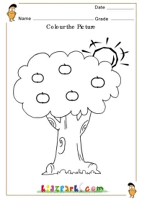 coloring pages for nursery class colour the apple and the tree kindergarten worksheets pre