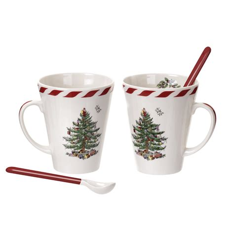 spode christmas tree set of 2 peppermint mugs with spoons