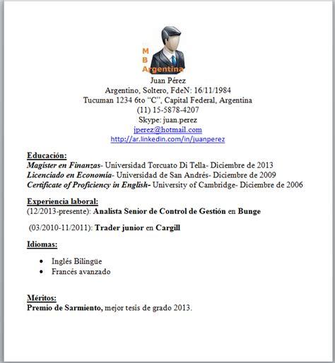 Modelo De Curriculum Vitae En Argentina Mba Argentina Un Cv Modelo