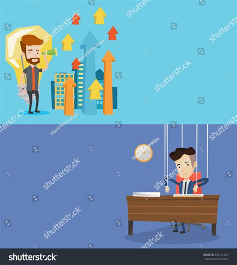 layout view show marionette two business banners space text vector stock vector