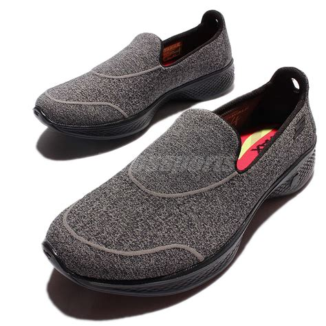 Sepatu Skechers Slip On Grey skechers go walk 4 grey black walking shoes trainers slip on 14161 bbk ebay