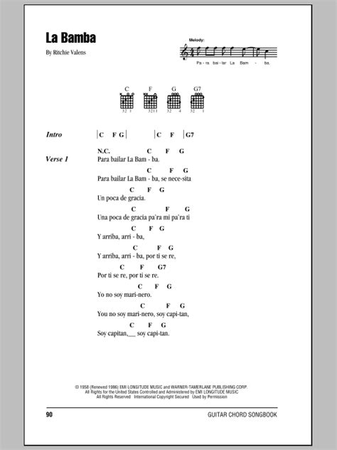 In L Lyrics by La Bamba By Ritchie Valens Guitar Chords Lyrics Guitar