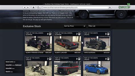 gta update gta v update cars list unlock method and price