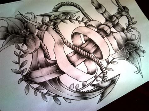 tattoo design tumblr anchor drawing with flowers www pixshark