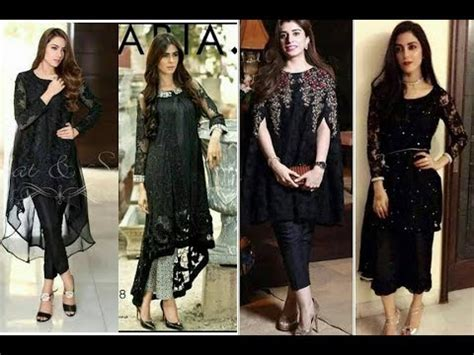 top stylish & beautifull black net dresses designs for