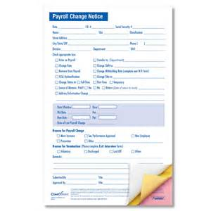 employee payroll status change forms 3 part