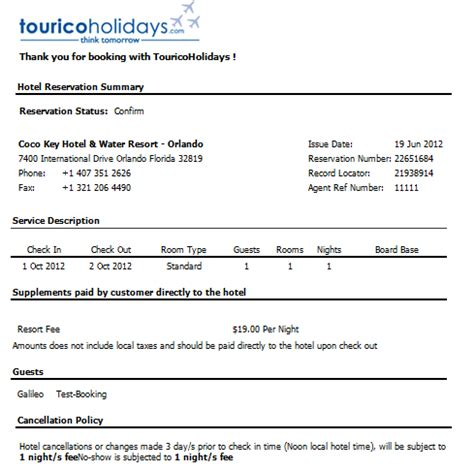 hotel confirmation email template tourico details