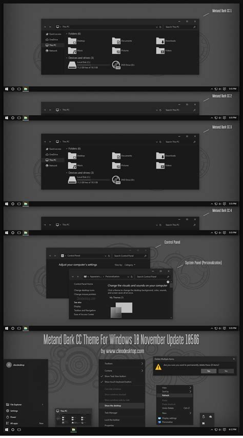 after dark cc theme for windows 10 rtm metand dark cc theme for windows 10 by cleodesktop on