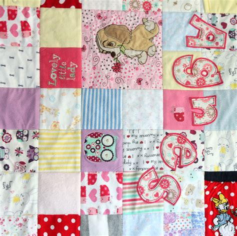 Patchwork Memory Quilt - all squared up baby clothes memory quilt patchwork castle
