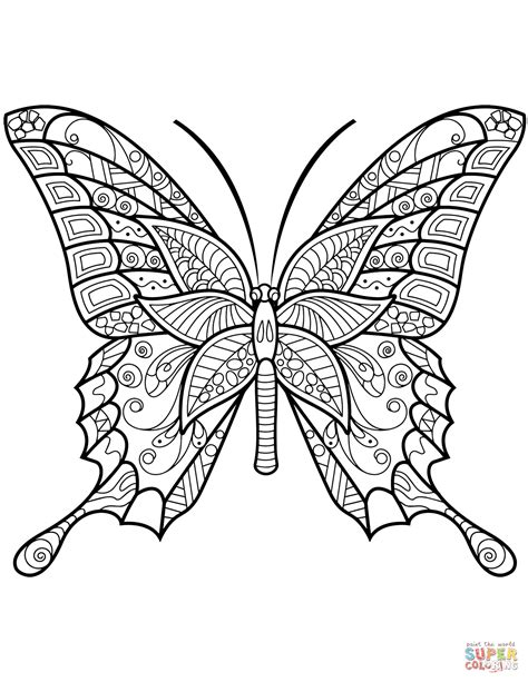butterfly coloring pages pdf zentangle butterfly coloring page free printable