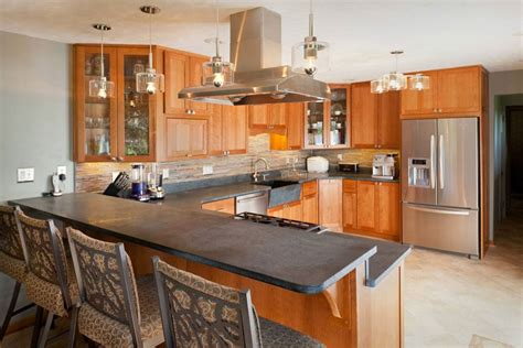 u shaped kitchen soapstone countertop home decorating