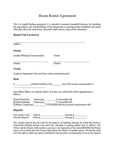 39 Simple Room Rental Agreement Templates Template Archive One Year Lease Template