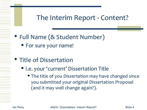 interim report exle for dissertation writing literature review chapter doctoral dissertation