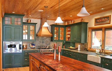Green Painted Kitchen Cabinets by Painting Kitchen Cabinets What Color The Log Home