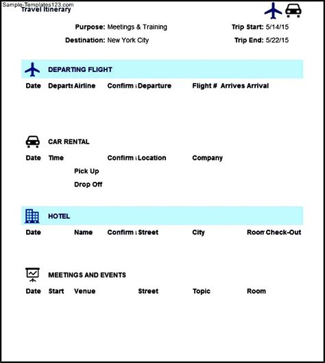 travel itinerary template in excel format sle templates