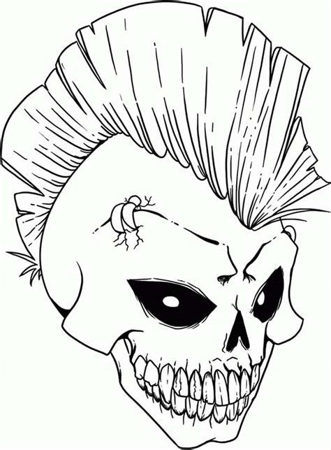 skull punk rock skull coloring page punk rock skull