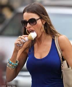 sofia vergara seems to prefer workouts to diets as she tucks into calorific ice cream daily