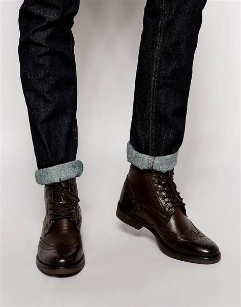 asos asos brogue boots in leather at asos