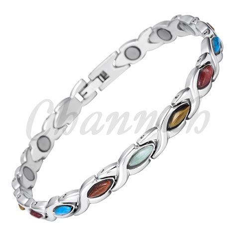 2015 Ladies Colourful Semi Precious Stones Magnetic Stainless Steel Bracelet Women Bio Free