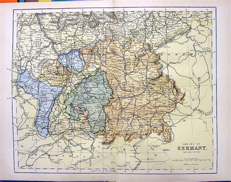 southern germany map 1876 color engraving map of southern germany