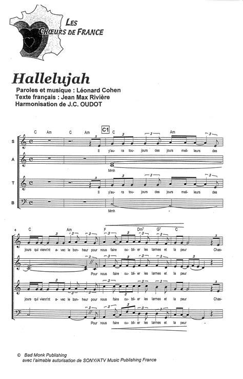 best hallelujah version partition de musique 233 diteur de partitions pour chorale
