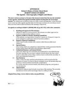 robert of order agenda template handbook