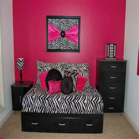 pink bedroom ideas with and black zebra interior