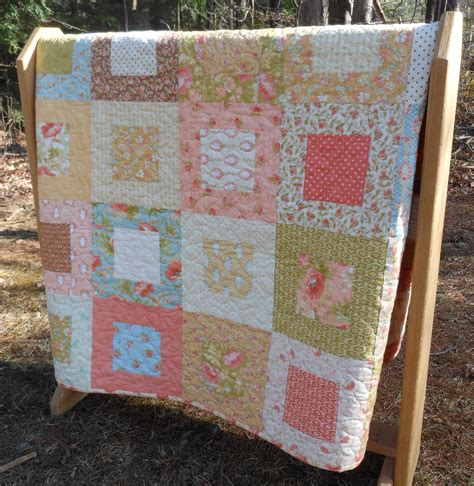 Beautiful Handmade Quilts - modern vintage or baby quilt in moda fig by