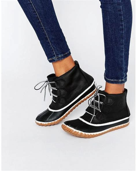 sorel out n about leather lace up ankle boots in black lyst