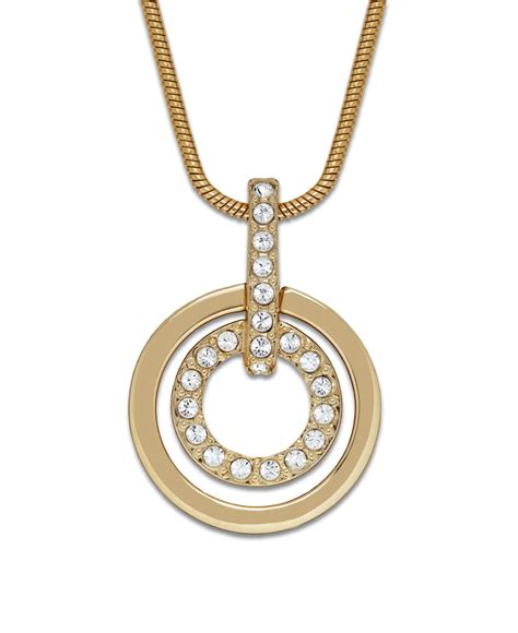 swarovski gold tone circle pendant in gold