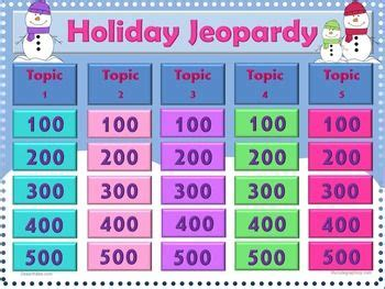 printable christmas jeopardy game winter holidays holiday themes and kids playing on pinterest
