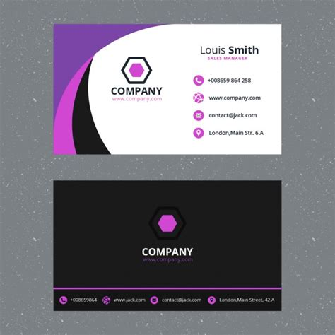 business card templat purple business card template psd file free
