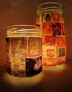 Upcycled Glass Jars Tea Light Candle Holders Felt 1000 Images About Decoupage Ideas On