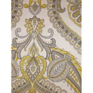 yellow and gray medallion paisley print