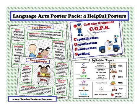 language arts themes list free language arts poster pack 4 helpful posters from
