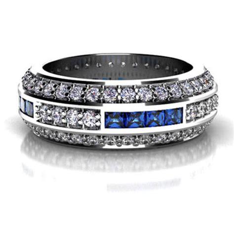 custom diamond  princess cut blue sapphire wedding band