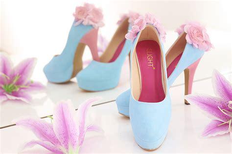 High Heels Monita Biru sepatu lukis platform pompom biru pink