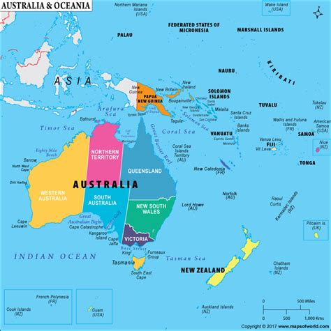 oceania map with country names which are the countries that make up oceania answers