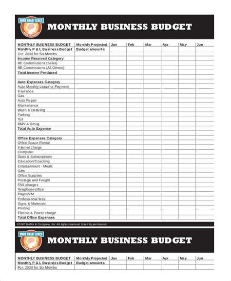 Printable Monthly Budget Template 11 Free Excel Pdf Documents Download Free Premium Business Budget Template