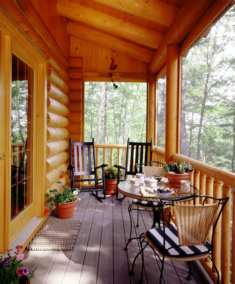 Cabin Floor Plans With Screened Porch | log cabin screen porch 171 real log style