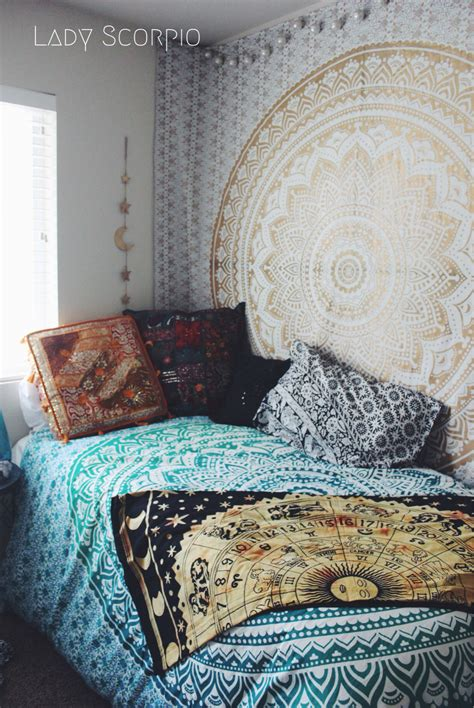 scorpio bedroom hippie trippy turquoise green blue ombre mandala tapestry