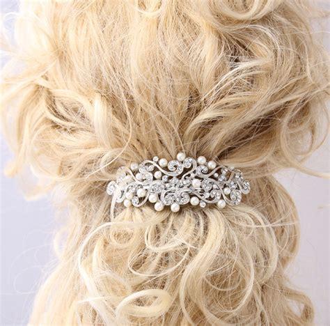 Wedding Hair With Barrette by Pearl Hair Barrette Bridal Wedding Hair Accessory