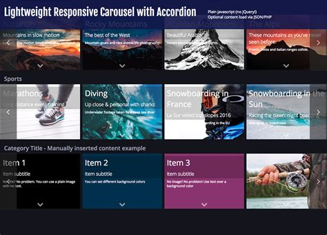 lightweight responsive pinterest layout with jquery waterfall lightweight responsive carousel with accordion by escomnet