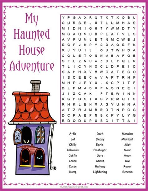 free house search haunted house word search