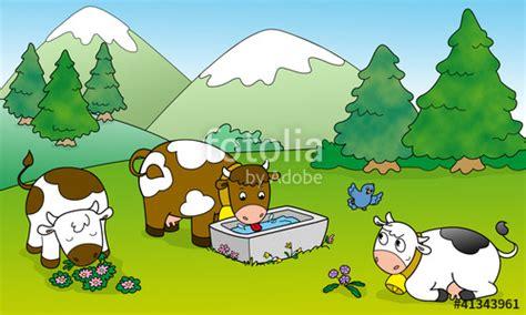 clipart montagna quot tre mucche pascolano in montagna illustrazione per