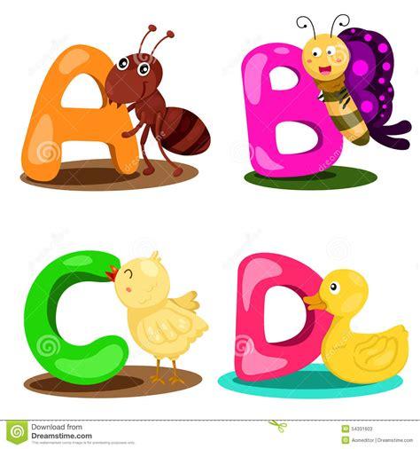Letter A B C illustrator alphabet animal letter a b c d stock vector