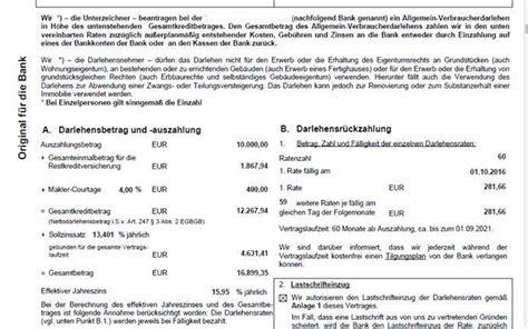 kredit auszahlungsbetrag berechnen restschuldversicherung vergleich der mehrkosten f 252 r